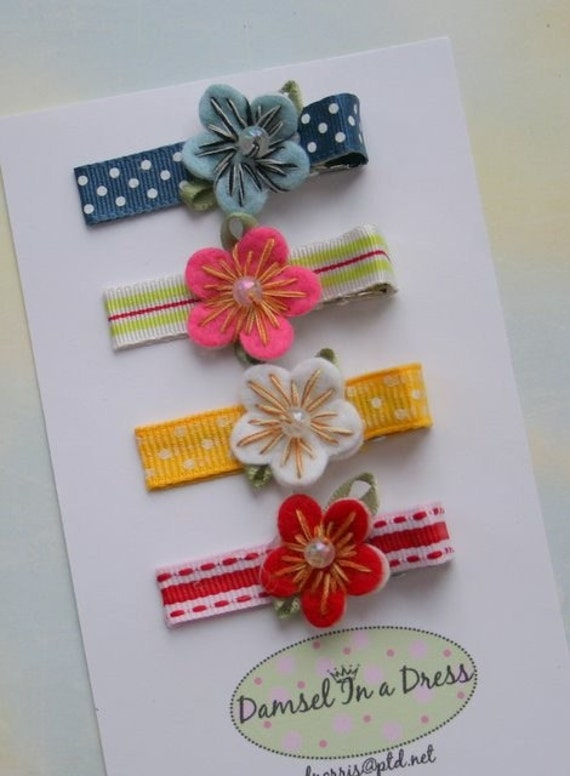 Multi-Colored Set of Four Hair Clips