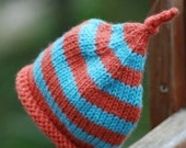Newborn Baby Hat Tangerine and Turquoise STRIPES Stripes and more STRIPES Boutique Infant Child Baby Pixie Hat Photo Prop