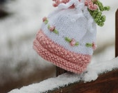 Bobbles and Embroidered Flowers Fancy Plush Newborn Baby Girl Boutique Bonnet Hat Photo Prop