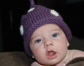 Baby Hat Purple and White Polka Dot Stocking Cap Boutique Hat Photo Prop