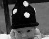Black and White Knit Baby Hat, Polka Dot Stocking Cap, Classic, Pixie, Black and White Photo Prop