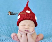 3-6 Months Infant Baby Red and White Polka Dot Stocking Cap Boutique Hat Photo Pro