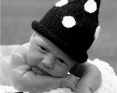 Knit Baby Hat Newborn Infant Baby Black and White Polka Dot Stocking Cap Pixie Boutique Hat Photo Prop