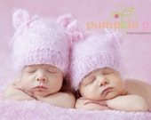 Twin Hats, Soft, Baby, Love, Infant Hat, Pink Kitten, Hand Knit, Newborn Twins Photo Prop for Baby