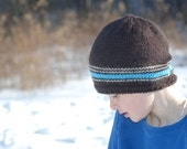 Boys Ski Cap, Brown, Cream and Teal,  Stripe Hat, Skull Cap for Boys, Winter Ski Hat