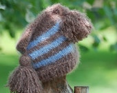 Baby Newborn Photo Prop Pocket Hat with Brown and Blue Stripes Handmade in the USA