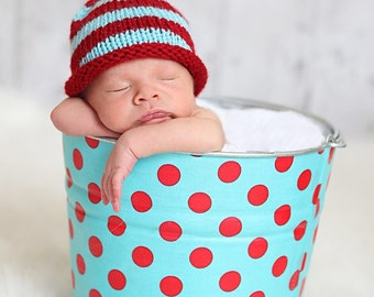 Baby Pixie Hat, Red and Turquoise, Infant, Striped Baby Hat, Photo Prop, Pixie for Baby, Newborn Knit Hat