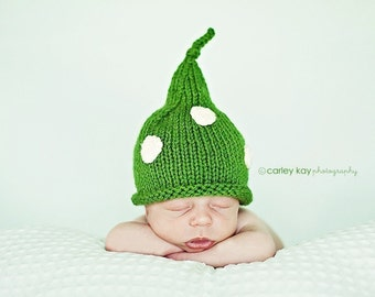 Green Hat for Baby, Polka Dot Hat for Baby, Pixie Baby Hat, Baby, Toddler Photography Prop