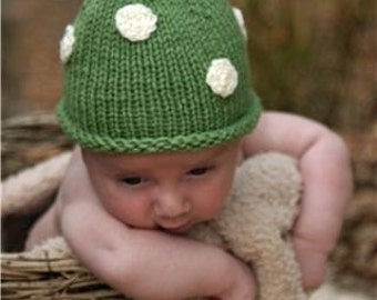 Emerald Baby Knit Pixie Hat, Infant Kelly Green Gnome Hat, Polka Dot Hand Knit Hat ,Photo Prop, This Hat Made the Front Page