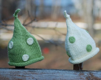 Knit Hat forTwins, Newborn Twins Hat - Unique Photography Props, Polka Dots, Pixie, Fairy, Pixie Twins