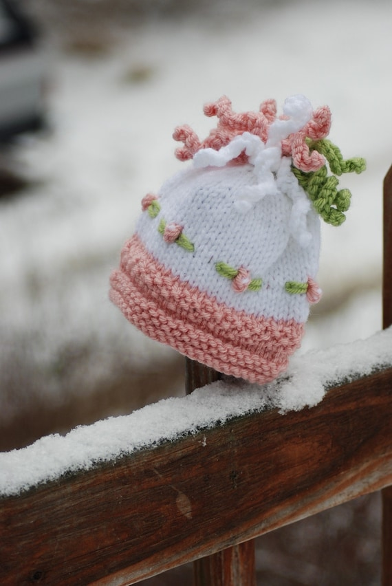 Knitting Patterns For Baby Toques : Items similar to Bobbles and Embroidered Flowers Fancy Plush Newborn Baby Gir...