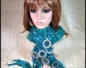 Knitted Silk sari ribbon and angora yarn scarf