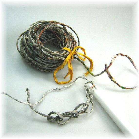 Newspaper handspun yarn 15 yards