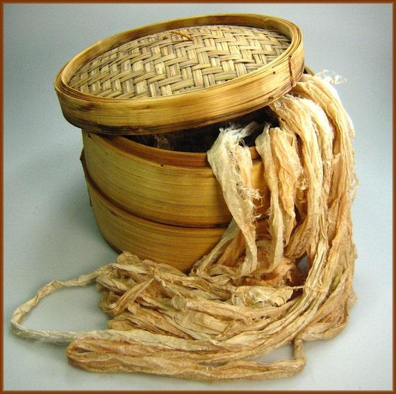 Chiffon Silk Sari ribbon called Bamboo I HALF skein