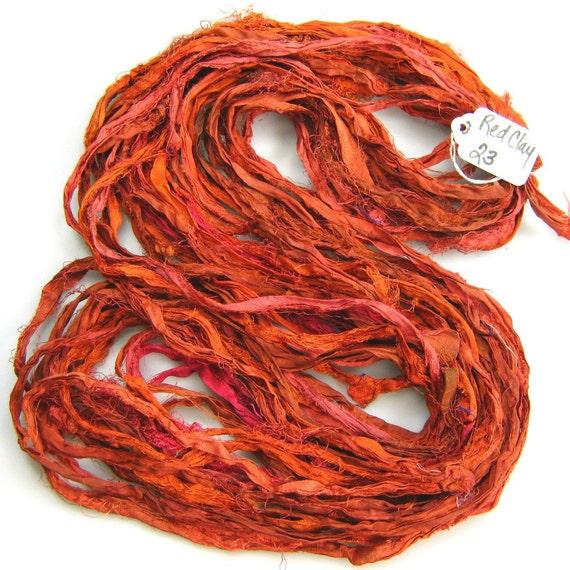 Silk Sari Ribbon called Red Clay