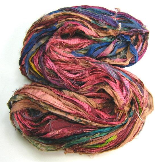 Silk Sari Ribbon called Rosewood OOAK