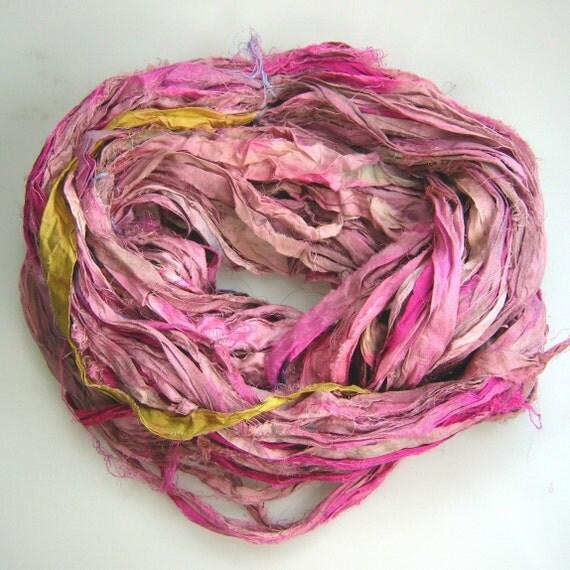 Silk Sari Ribbon called Pink Cora Bell