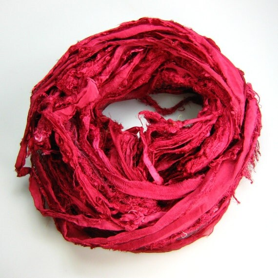 Chiffon Silk Sari Ribbon called Glass of Wine