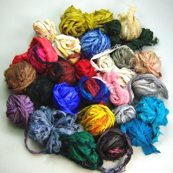 Silk Sari Ribbon Scrap rolled up balls over 140 yds