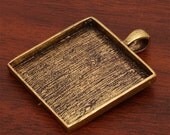 20 pcs 33X33mm Great foursquare antique bronze Pewter bezel blank Pendant Tray