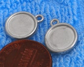 200 pcs 11mm two side Great round silver tone bezel blank Pendant Tray