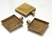 100 Shiny antique bronze blank Pendant Trays - 25mm Square - Use with your favorite resin, glaze, or glass