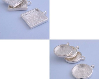 2x5pcs  25mm silver tone spuare  pewter blank pendant  tray  bezel   25mm silver tone  round