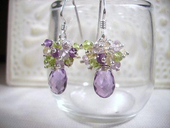 Gemstone Earrings Amethyst Citrine Peridot Sterling Silver Earrings February Birthstone