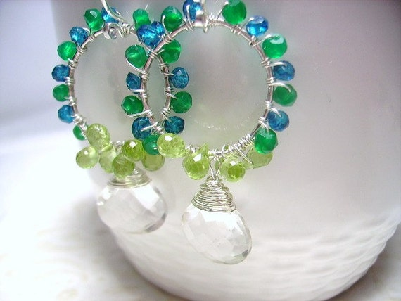 """SALE - 35% off Use Coupon Code """"summer35"""" at Check Out.Hoop Earrings, Green Onyx, Blue Topaz, Peridot, Quartz, Sterling Silver"""