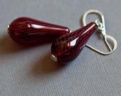 Red Swirl Blown Glass Earrings