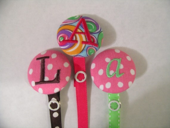 1 Personalized Pacifier Paci Binky Holder Clip Cute Boutique Baby FREE MONOGRAM Baby Shower Gift Summer Fun