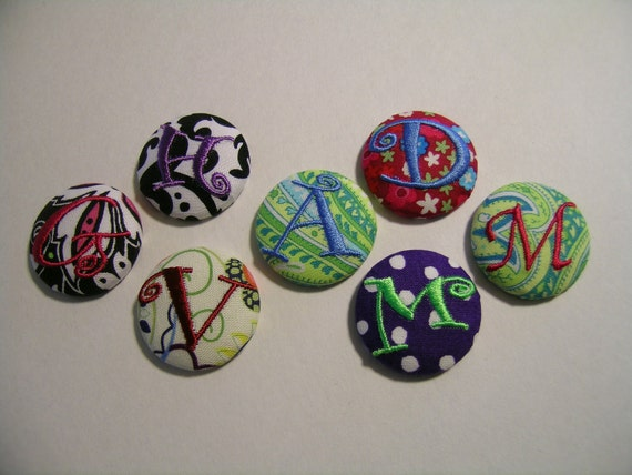 Personalized Fabric Covered BUTTON Monogrammed Initial / Letter OOAK