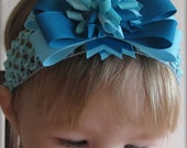 SALE BUY 3 GET 1 FREE Turquoise Aqua and Ocean Blue Layered Korker Bow with Clip and Crochet Headband