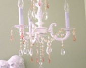 White French Crystal Chandelier with Pink / Rosalin crystals comes Distressed or Not Distressed