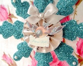 Aqua Vintage German Glass Glittered Snowflake Ornament with Vintage Pearl Cabochons, Forget Me Nots, French Joyeux Noel or Merry Christmas