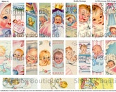21 Beautiful Babies  Vintage Cards 1x3 Microscope Slide Collage Sheet Printable Digital Images 1 ECS