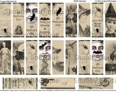 21 HALLOWEEN SEPIA Vintage Postcards 1x3 Microscope Slide Collage Sheet Printable Digital Images 4 ECS