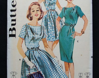 Vintage Butterick Shallow Neck Flared Skirt Dress or Sheath Sewing Pattern Bust 36