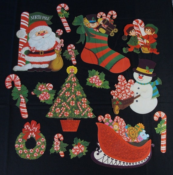 Lot Vintage Christmas Paper Cut Out Decorations