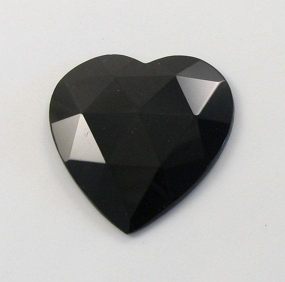 Vintage Heart Shape Black Faceted Glass Bead Trim