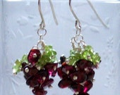 Pomona - peridot and garnet earrings