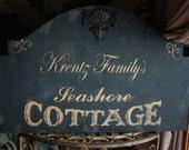 Shabby Vintage PERSONALIZED Seashore Cottage sign 24 x 15 1/2