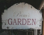 Shabby Vintage PERSONALIZED Garden Sign 24 x 16 1/2