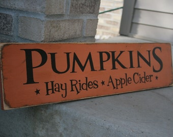 PUMPKINS Hay Rides Apple Cider Handpainted LARGE Wood Sign Plaque Fall Halloween Home Decor Wall Hanging