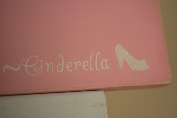 ONE SHOE CAN CHANGE YOUR LIFE -CINDERELLA hand painted shabby chic AUTHENTIC GERMAN GLASS GLITTER wood sign shelf sitter