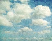 Cloud Photography - Nature photography - fine art print - pale sky blue - summer wall art print - nature - nursery decor