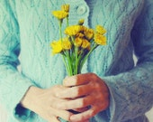 Dandelion Flowers | Fine Art Photography | Whimsical Wall Art | Friendship Gift | Teal and Gold | Dandelion Bouquet Print