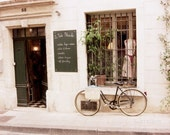 "France Photography - French boutique - bicycle art print - pale cream beige decor - neutral white bike art print 8x10 ""La Poule Blanche"""