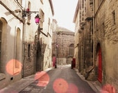 Street in France photograph fine art print pink bokeh lights beige tan brown old stone buildings  8x10 - Where shall we go - LupenGrainne