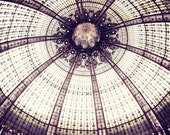 Paris photography - geometric architecture art photograph mauve plum decor wheel spokes photography 'Sea Urchin Ceiling'